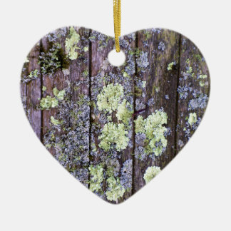 Moss and Lichen covered Wood Boards Ceramic Ornament