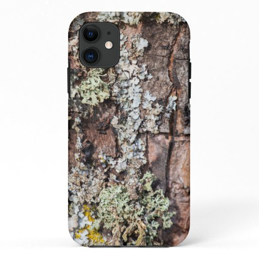 Moss and Lichen on Tree Bark photo Close Up iPhone 11 Case