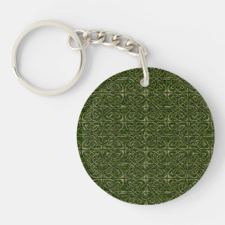 Moss Covered Stone Connected Ovals Celtic Pattern Keychain