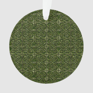 Moss Covered Stone Connected Ovals Celtic Pattern Ornament