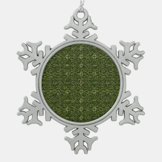 Moss Covered Stone Connected Ovals Celtic Pattern Snowflake Pewter Christmas Ornament
