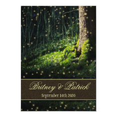 """Moss Enchanted Forest Firefly Wedding Invitations 5"""" X 7"""" Invitation Card at Zazzle"""