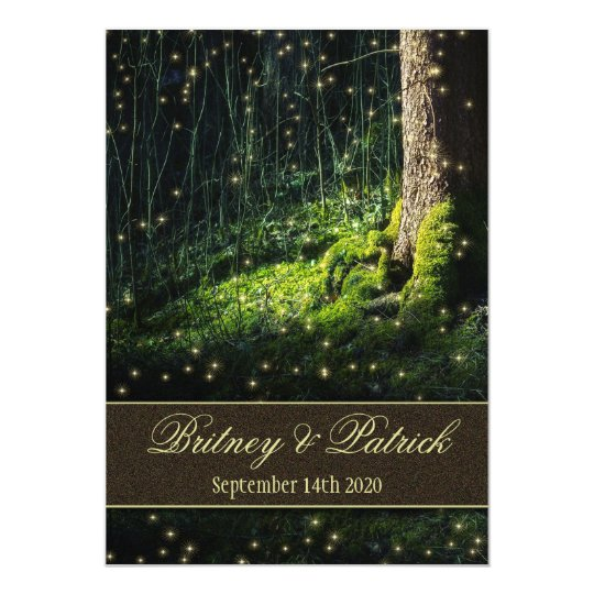 Moss Enchanted Forest Firefly Wedding Invitations Zazzlecom