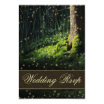 Moss Enchanted Forest Firefly Wedding RSVP Cards Custom Announcement