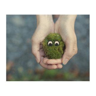 Moss eyes wood print