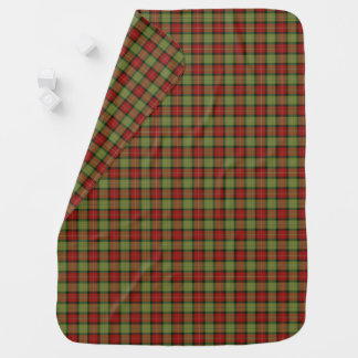 Moss Green and Red Rustic Christmas Plaid Receiving Blanket