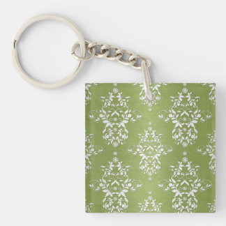 Moss Green and White Floral Damask Keychain
