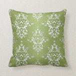 Moss Green and White Floral Damask Pillow
