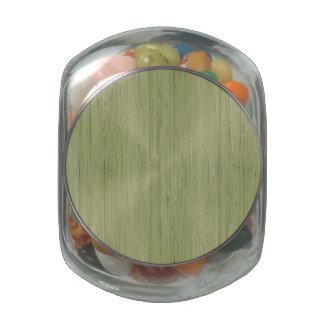 Moss Green Bamboo Wood Grain Look Glass Jar
