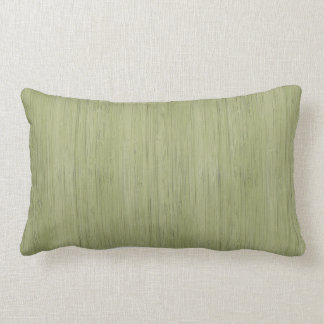 Moss Green Bamboo Wood Grain Look Lumbar Pillow