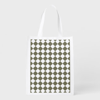 Moss Green Checkerboard pattern Grocery Bag