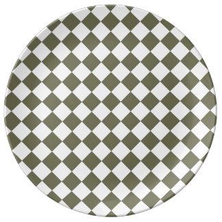 Moss Green Checkerboard pattern Porcelain Plates