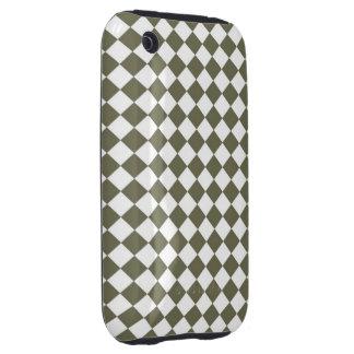 Moss Green Diamond Check pattern iPhone 3 Tough Case