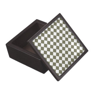 Moss Green Diamond Check pattern Jewelry Box