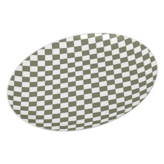 Moss Green Diamond Check pattern Melamine Plate