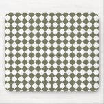 Moss Green Diamond Check pattern Mousepads