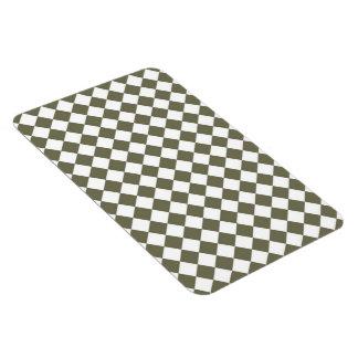 Moss Green Diamond Check pattern Rectangular Photo Magnet