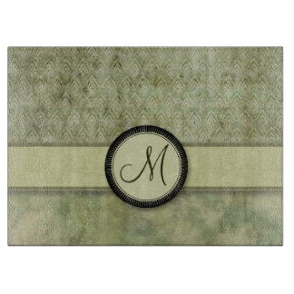 Moss Green Feather Pattern with Monogram Cutting Board