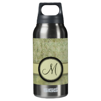 Moss Green Feather Pattern with Monogram Insulated Water Bottle