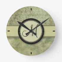 Moss Green Feather Pattern with Monogram Round Clock