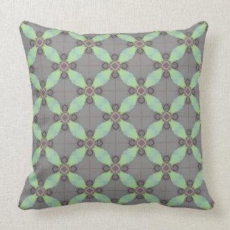 Moss Green geometric on gray Throw Pillow
