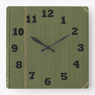 Moss Green Hardcover Book Square Wall Clock