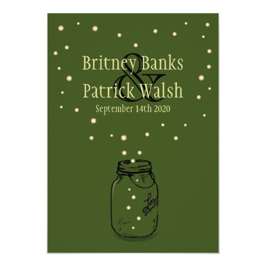 Moss Green Mason Jar Firefly Wedding Invitations