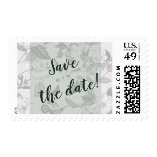 Moss Green Modern Floral Save The Date Postage