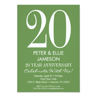 Moss Green Modern Simple Anniversary Invitations