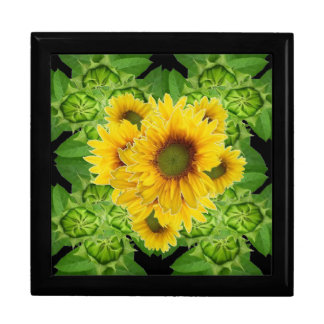 Moss Green Sunflowers-Buds Patterns Gifts Gift Box