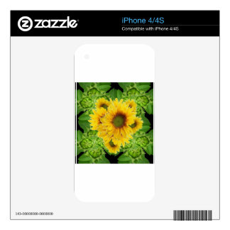 Moss Green Sunflowers-Buds Patterns Gifts iPhone 4 Decal