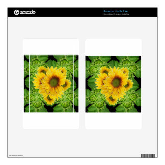 Moss Green Sunflowers-Buds Patterns Gifts Skin For Kindle Fire