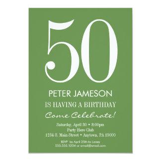 Moss Green White Modern Adult Birthday Invitations