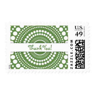 Moss Green & White Thank You, Rings & Circles Postage