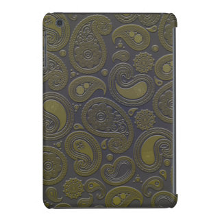 Moss green yellow paisley on deep burgandy iPad mini retina case