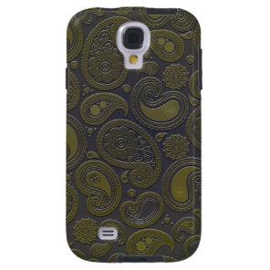 Moss green yellow paisley on deep burgandy galaxy s4 case