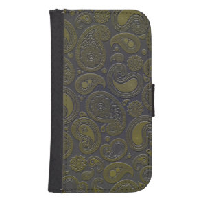 Moss green yellow paisley on deep burgandy samsung s4 wallet case