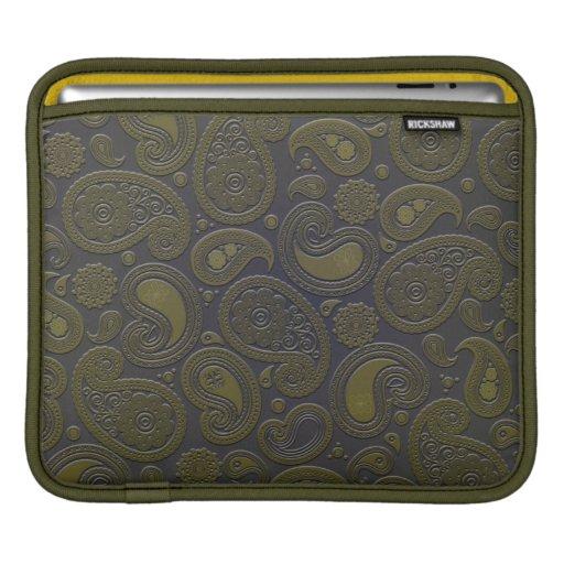 Moss green yellow paisley on deep burgandy sleeves for iPads
