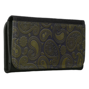 Moss green yellow paisley on deep burgandy wallets