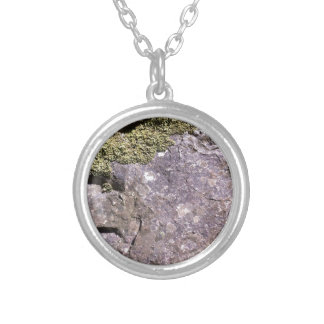 Moss growing on Australian granite in bush setting Silver Plated Necklace