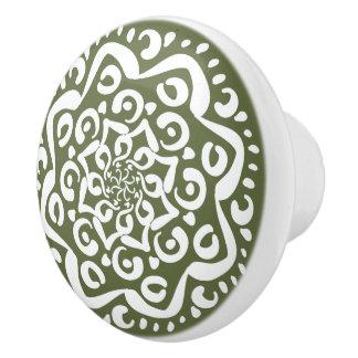 Moss Mandala Ceramic Knob