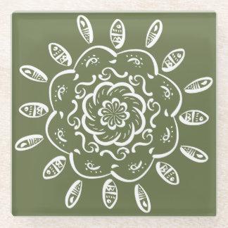 Moss Mandala Glass Coaster