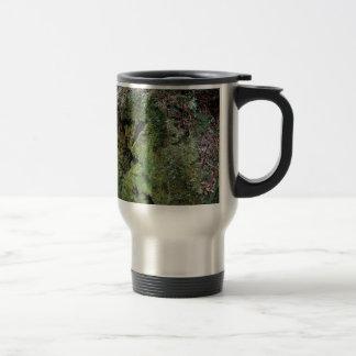 Moss on fallen redwood travel mug