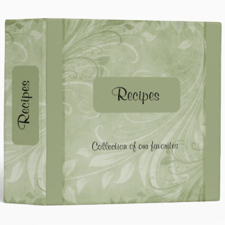 Moss Swirls Recipe 3 Ring Binder