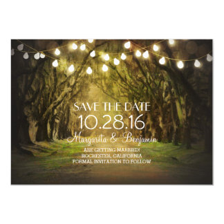 Moss Tree Path Rustic String Lights Save the Date Card