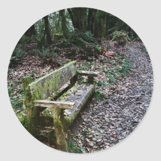 Mossy Bench Nature Trail in Olympic National Park Classic Round Sticker