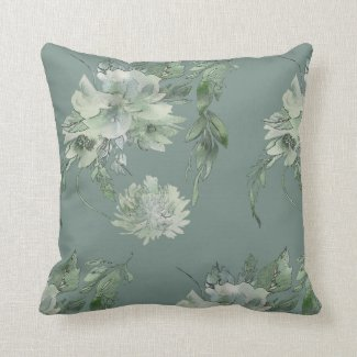 Mossy Green Floral Mystique Contemporary 16x16 Throw Pillow