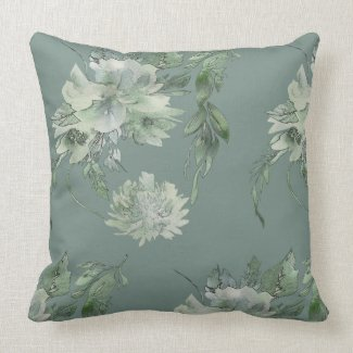 Mossy Green Floral Mystique Contemporary 20x20 Throw Pillow