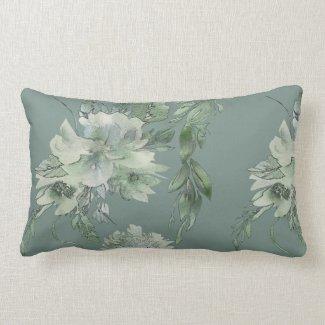 Mossy Green Floral Mystique Contemporary Lumbar Lumbar Pillow