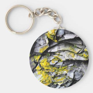 Mossy grey rocks photo keychain